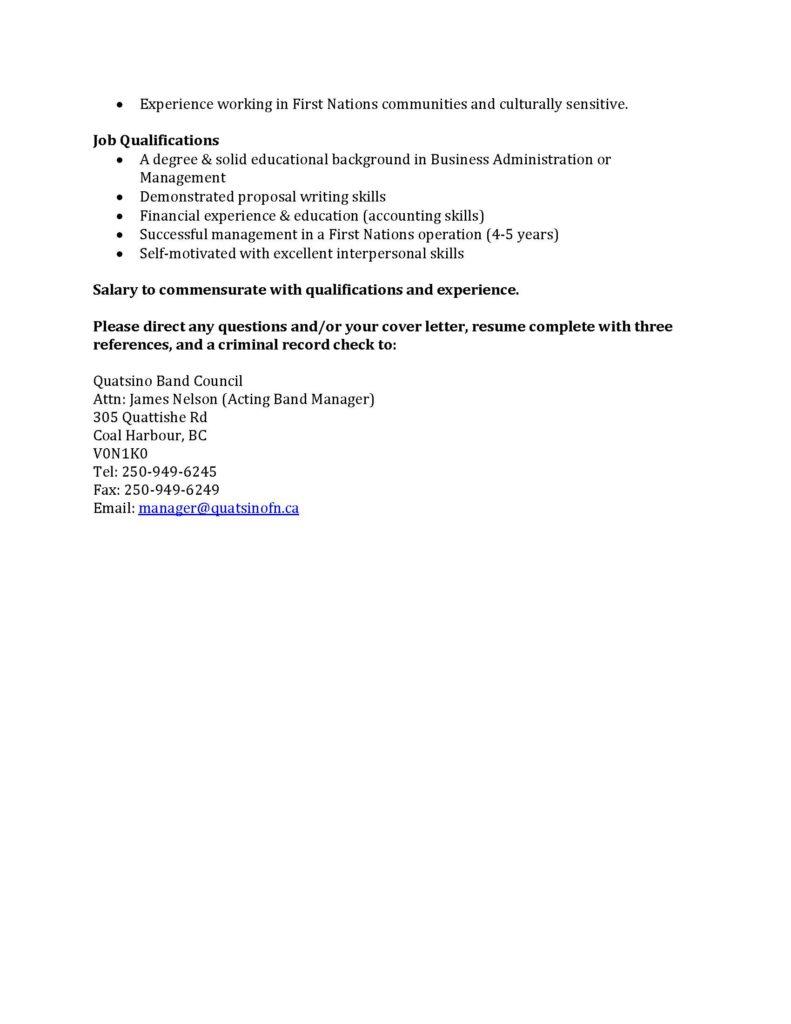Band administrator_Page_2 » Mamalilikulla First Nation