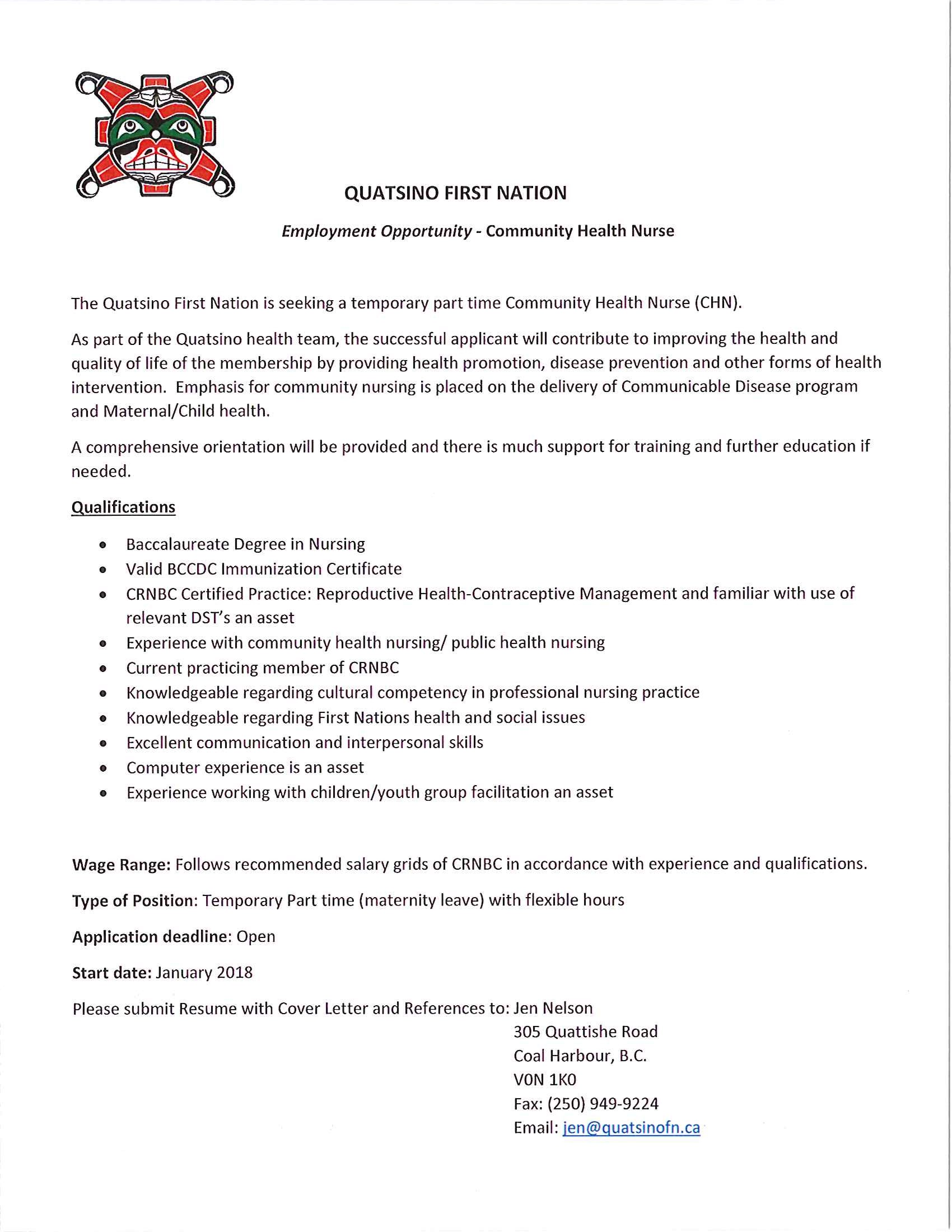 Community Health Nurse » Mamalilikulla First Nation